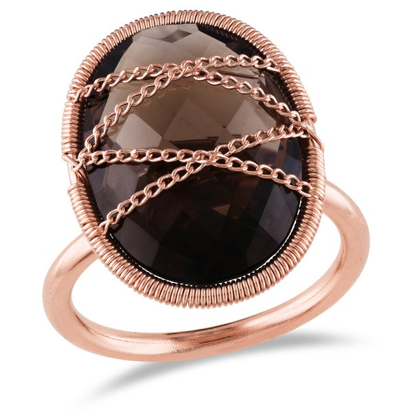 Miadora 14k Rose Goldplated Silver 9ct TGW Smokey Quartz Ring