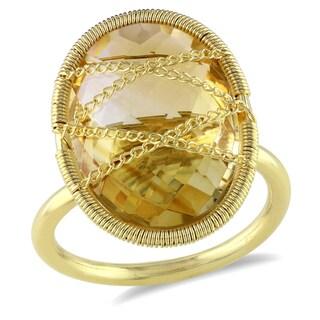 Miadora 14k Yellow Goldplated Silver 9ct TGW Citrine Ring