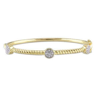 Miadora Yellow-plated Silver 1/6ct TDW Diamond Bangle (H-I, I2-I3)