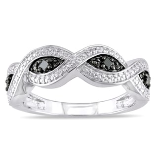 Miadora Sterling Silver 1/6ct TDW Black Diamond Infinity Ring