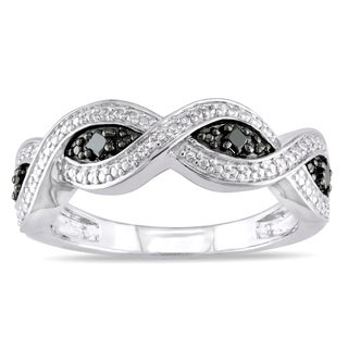 M by Miadora Sterling Silver 1/6ct TDW Black Diamond Infinity Ring