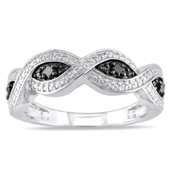 Haylee Jewels Sterling Silver 1/6ct TDW Black Diamond Infinity Ring