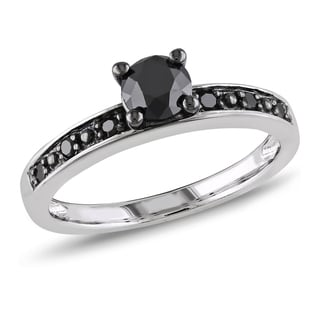 Haylee Jewels Sterling Silver 4/5ct TDW Black Diamond Solitaire Ring