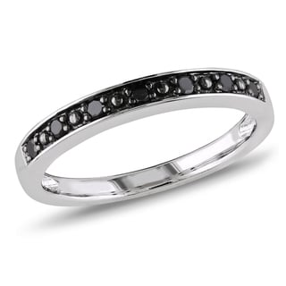 Miadora Sterling Silver Black Diamond Wedding Band