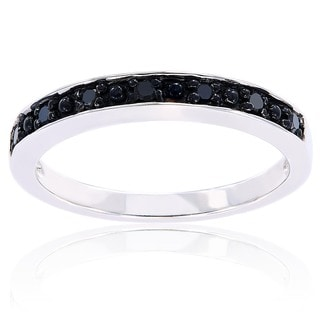 Haylee Jewels Sterling Silver Black Diamond Band
