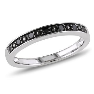 M by Miadora Sterling Silver Black Diamond Band