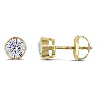 Miadora Signature Collection 14k Gold 1ct TDW Bezel-set Diamond Solitaire Earrings (G-H, I1-I2)