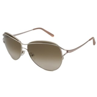 Valentino Women's V103 Gold-and-Brown Aviator Sunglasses