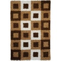 Soft Shag Boxes Brown/ Ivory Area Rug (5' x 7')