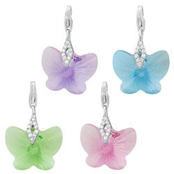 Fremada Rhodium Plated Sterling Silver Swarovski Elements Butterfly Charm (pink, lavander, blue, or green)