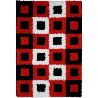 Soft Shag Boxes Red/ Black/ White Area Rug (6'7 x 9'3)