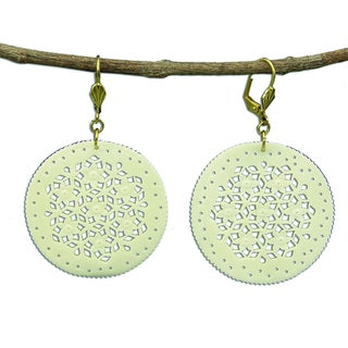Hand Carved Lace Design Round Carved Bone Earrings (India)
