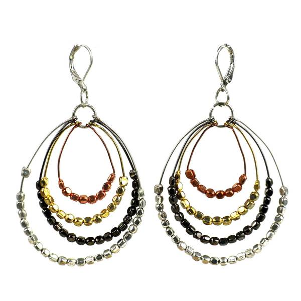 Handmade Ombre Metallic Tiered Loop Earrings (India)