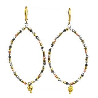 Handmade Almond Ombre Metallic Earrings (India)
