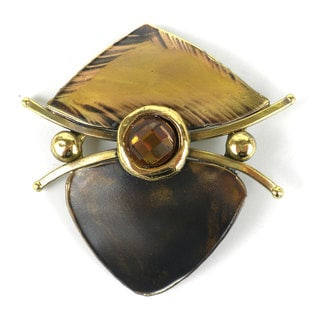 Handcrafted Brass Shield Brooch with Topaz Chrystal (South Africa)