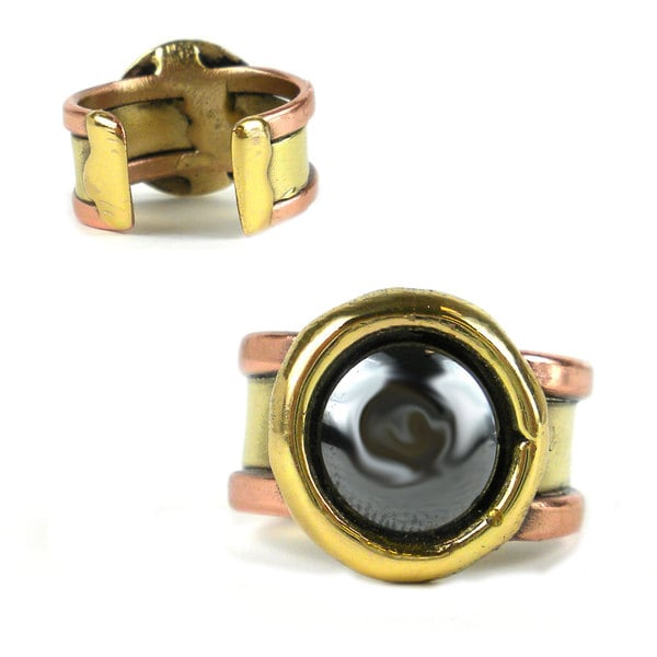 Handmade Hematite Circle Copper and Brass Ring (South Africa)