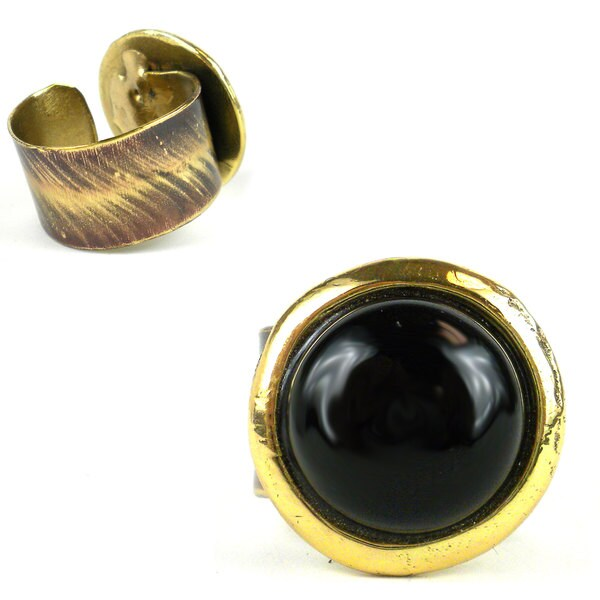 Handmade Onyx and Brass Wrap Ring (South Africa)