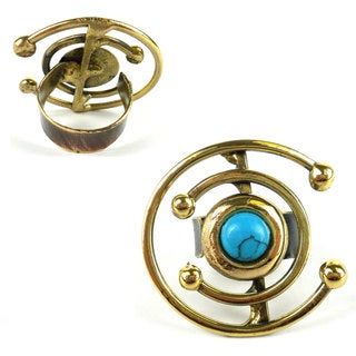Handmade Double C Turquoise and Brass Ring (South Africa)