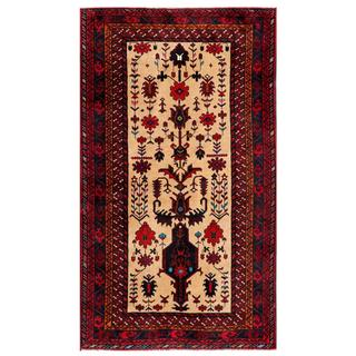 Afghan Hand-knotted Tribal Balouchi Red/ Beige Wool Rug (3'4 x 5'7)