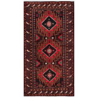 Afghan Hand-knotted Tribal Balouchi Brown/ Red Wool Rug (3'7 x 6'7)