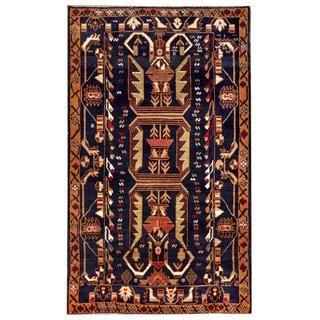 Afghan Hand-knotted Tribal Balouchi Navy/ Rust Wool Rug (3'11 x 6'7)