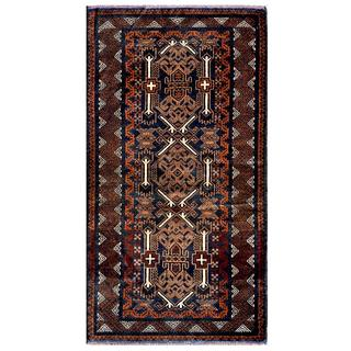 Afghan Hand-knotted Tribal Balouchi 3'7 x 6'6 Navy/ Brown Wool Area Rug (Afghanistan)