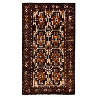 Afghan Hand-knotted Tribal Balouchi Dark Blue/ Light Brown Wool Rug (3'11 x 6'8)