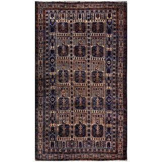 Afghan Hand-knotted Tribal Balouchi Blue/ Beige Wool Rug (3'11 x 6'9)