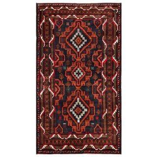 Afghan Hand-knotted Tribal Balouchi Dark Grey/ Rust color Wool Rug (3'8 x 6'5)