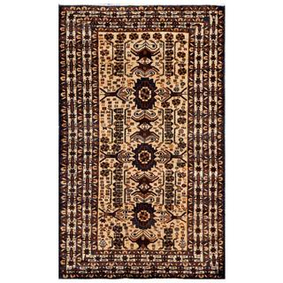 Afghan Hand-knotted Tribal Balouchi Beige/ Brown Wool Rug (3'8 x 6')
