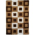 Soft Shag Boxes Brown/ Ivory Area Rug (6'7 x 9'3)