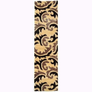 Crystal Glitter Soft Shag Tribal Scroll Beige Area Runner Rug (2'7 x 10')