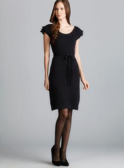 Beth Bowley Cap Sleeve Belted Pointelle Sweater Dress