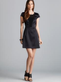 Kensie Cap Sleeve Pintucked Insert Satin Dress