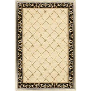 Karastan Sierra Mar Marie Louise Ivory/ Black Rug (5'6 x 8'3)