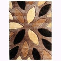 Crystal Glitter Soft Shag Floral Almonds Area Rug (5'3 x 7'3)