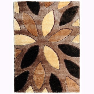 Crystal Glitter Soft Shag Floral Almonds Area Rug (8'2 x 9'10)