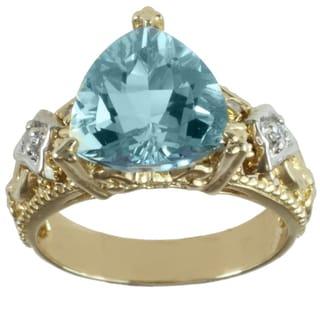 Michael Valitutti 14k Two-tone Gold Aquamarine and White Diamond Ring