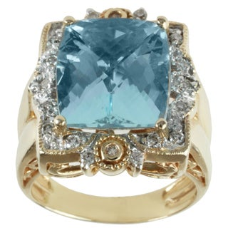 Michael Valitutti 14k Yellow Gold Aquamarine and Diamond Ring
