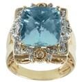 Michael Valitutti 14K Yellow Gold Cushion-cut Aquamarine and Diamond Ring