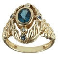 Michael Valitutti 14k Yellow Gold London Blue Topaz, Blue Sapphire and Diamond Ring