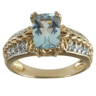 Michael Valitutti 14K Yellow Gold Prong-set Aquamarine and Diamond Ring