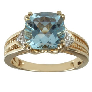 Michael Valitutti 14K Yellow Gold Cushion-cut Prong-set Aquamarine and Diamond Ring
