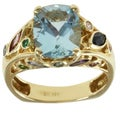 Michael Valitutti 18k Yellow Gold Aquamarine and Diamond Ring