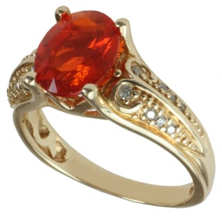 Michael Valitutti 14k Yellow Gold Oval-cut Fire Opal and Diamond Ring