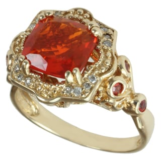 Michael Valitutti 14k Yellow Gold Cushion-cut Fire Opal and Diamond Ring