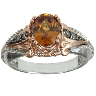 Michael Valitutti 14k White and Rose Gold Cognac Zircon and Diamond Ring