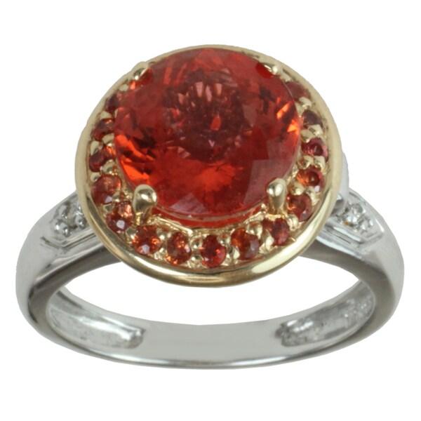 Michael Valitutti 14k Yellow Gold Fire Spessartite Topaz and Diamond Ring