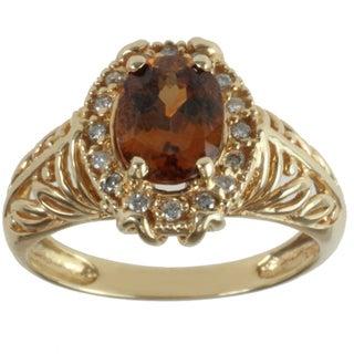Michael Valitutti 14k Yellow Gold Oval-cut Cognac Zircon and Diamond Ring