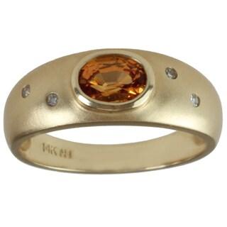 Michael Valitutti 14k Yellow Gold Oval-cut Spessartite Garnet and Diamond Ring